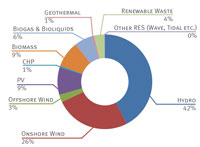 The share of renewable energy sources in the total EU-28 renewables generation mix for 2013 / Source: EURELECTRIC